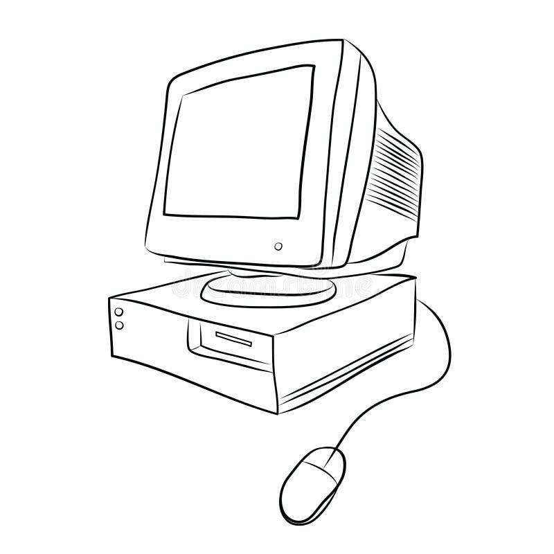 настольный компьютер компьютера старый иллюстрация штока