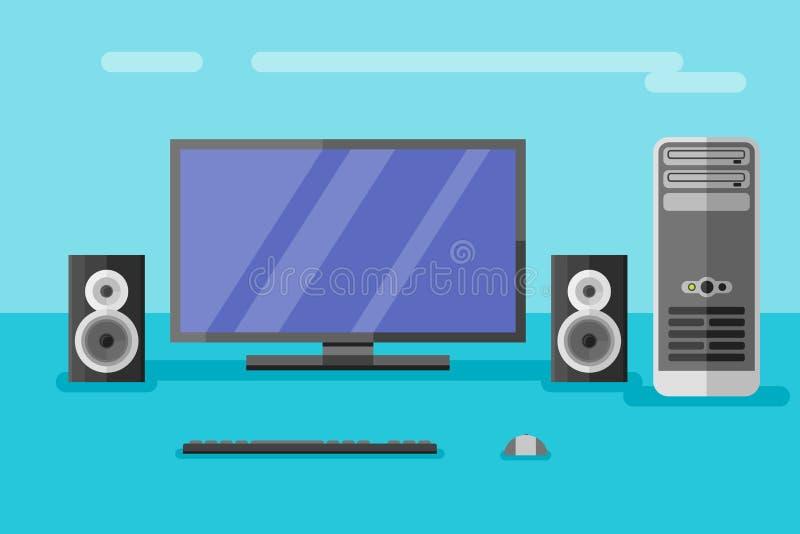 Настольный компьютер с монитором, дикторами, клавиатурой и мышью иллюстрация штока