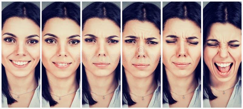 Настроение женщины изменяя от быть счастливый к получать осадку и сердитый стоковое изображение rf