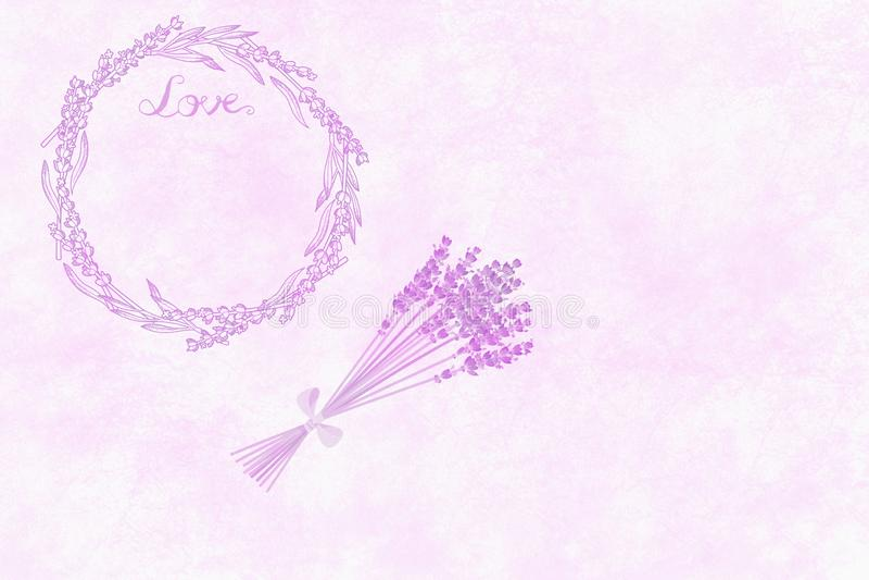 Настроение лаванды Свежая любовь букета, венка и надписи лаванды на светлом - розовая предпосылка стоковое изображение