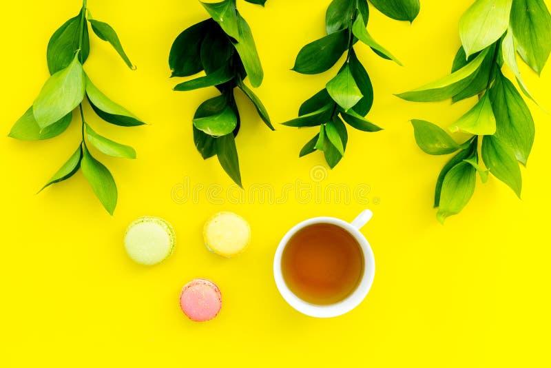 Настроение лета, чаепитие лета Macarons чашки чаю и помадок приближают к растительности brignt на желтом взгляд сверху предпосылк стоковое фото
