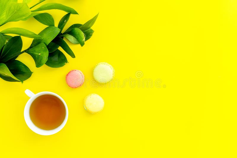 Настроение лета, чаепитие лета Macarons чашки чаю и помадок приближают к растительности brignt на желтом экземпляре взгляд сверху стоковые фото