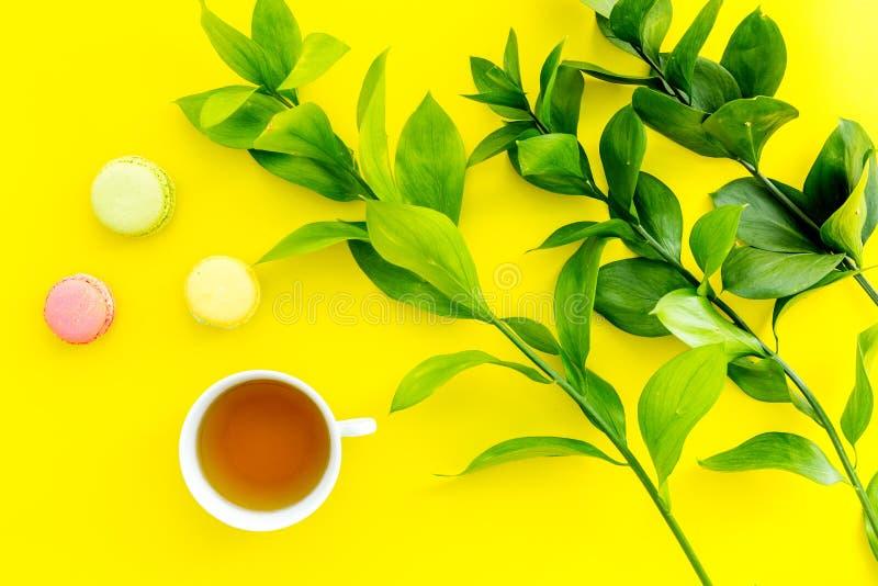 Настроение лета, чаепитие лета Macarons чашки чаю и помадок приближают к растительности brignt на желтом взгляд сверху предпосылк стоковое фото rf