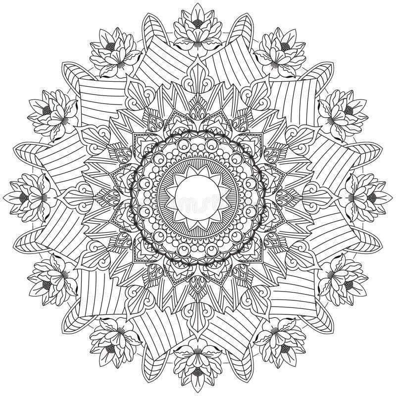 Настроение сложных картин мандалы черно-белое хорошее иллюстрация вектора