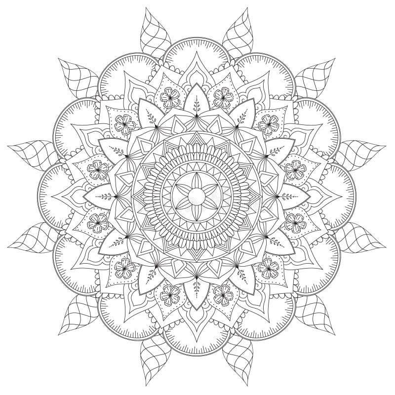 Настроение сложных картин мандалы черно-белое хорошее бесплатная иллюстрация