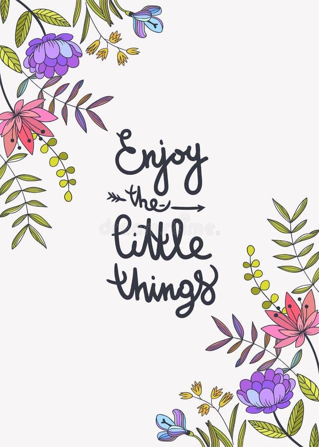 Насладитесь маленький помечать буквами вещей Флористическая предпосылка с beauti иллюстрация штока