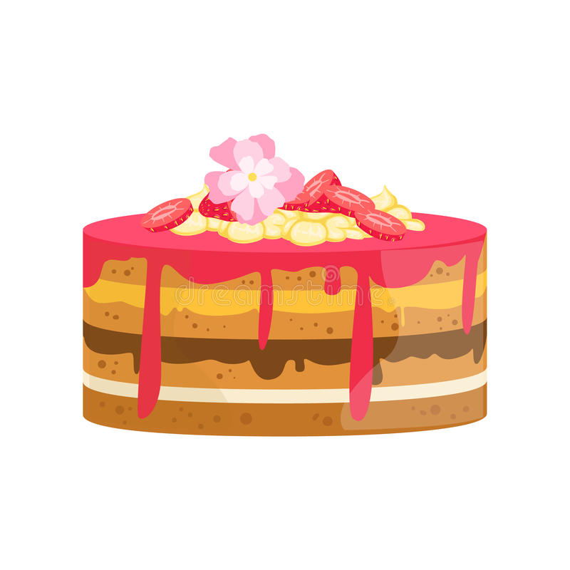 Наслоенные торт с цветками и различная Creams украшенный большой десерт партии специального случая для Wedding или дня рождения бесплатная иллюстрация
