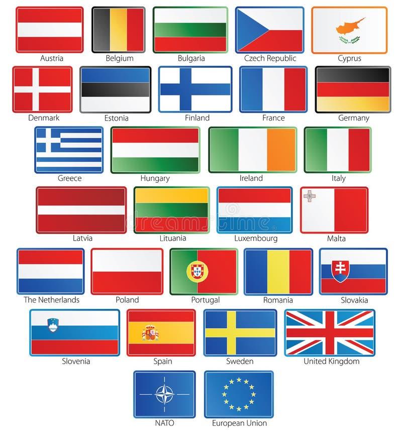 НАТО флага eu 27 кнопок плюс иллюстрация вектора