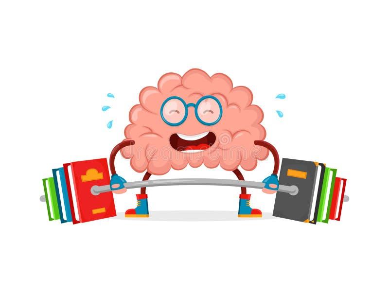 Натренируйте ваш мозг характера потехи иллюстрации шаржа вектора мозга дизайн плоского творческий образование, наука, умная, мозг бесплатная иллюстрация