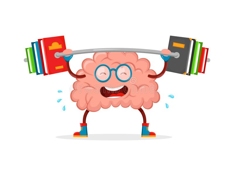 Натренируйте ваш мозг шарж вектора мозга плоский иллюстрация вектора