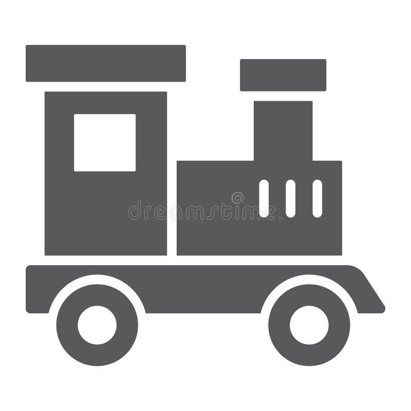 Натренируйте значок глифа игрушки, ребенка и железную дорогу, локомотивный знак, векторные графики, твердую картину на белой пред иллюстрация штока