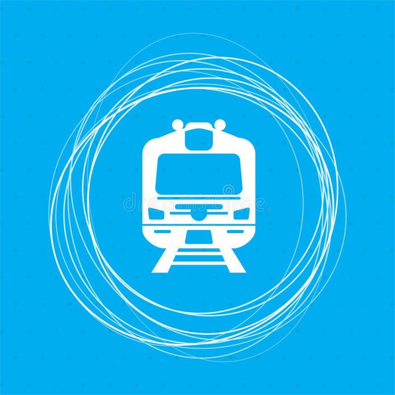 Натренируйте значок на голубой предпосылке с абстрактными кругами вокруг и установите для вашего текста бесплатная иллюстрация