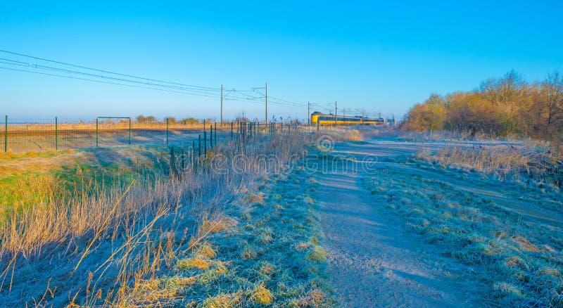 Натренируйте катание через замороженное поле в солнечном свете стоковое изображение rf