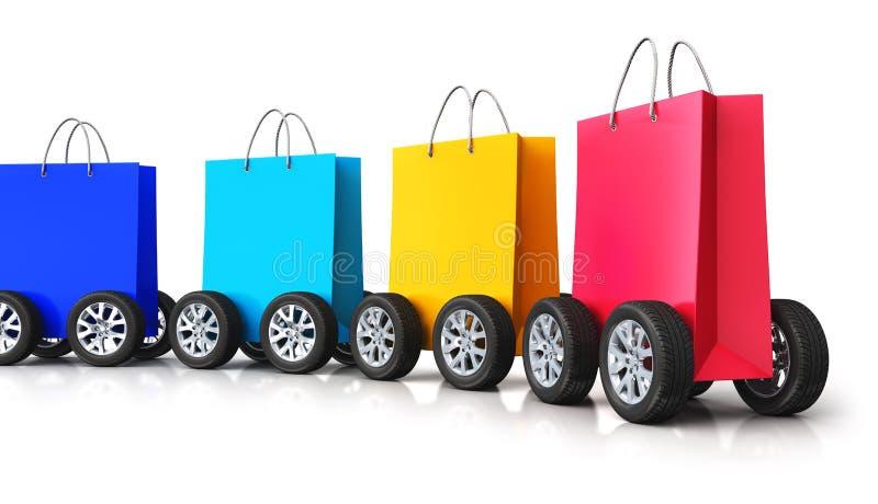 Натренируйте от группы в составе бумажные хозяйственные сумки с колесами автомобиля бесплатная иллюстрация