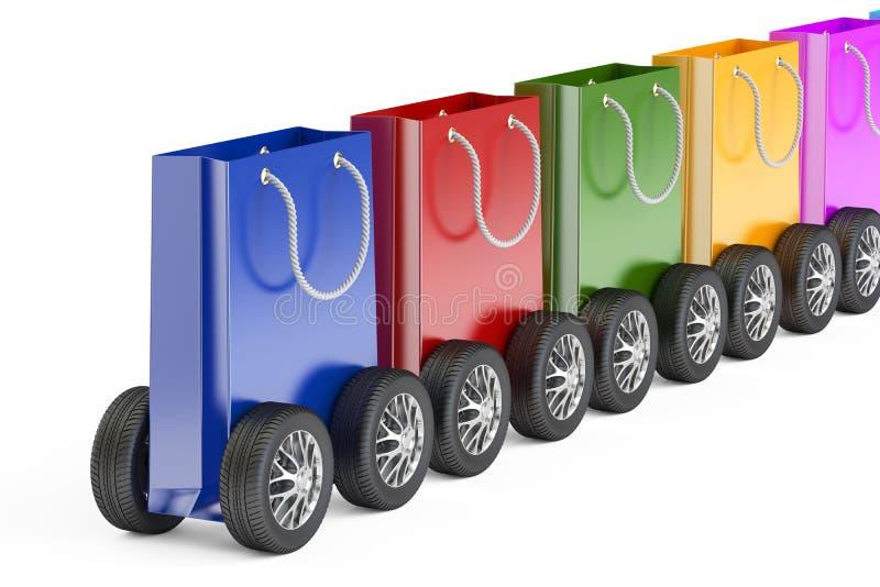 Натренируйте от хозяйственных сумок с колесами автомобиля, переводом 3D бесплатная иллюстрация