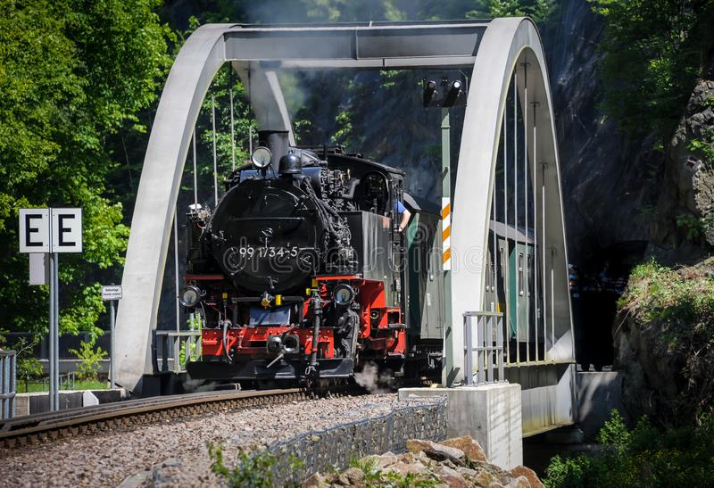 Натренируйте при паровой двигатель идя над мостом стоковые изображения rf
