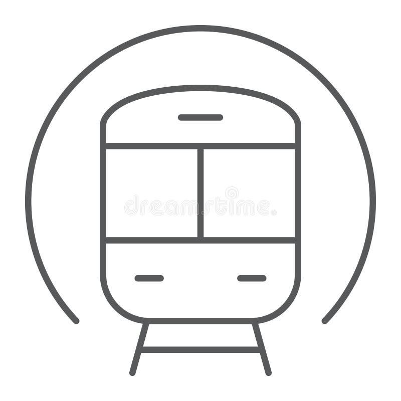 Натренируйте тонкую линию значок, железную дорогу и перемещение, знак метро, векторные графики, линейную картину на белой предпос иллюстрация вектора