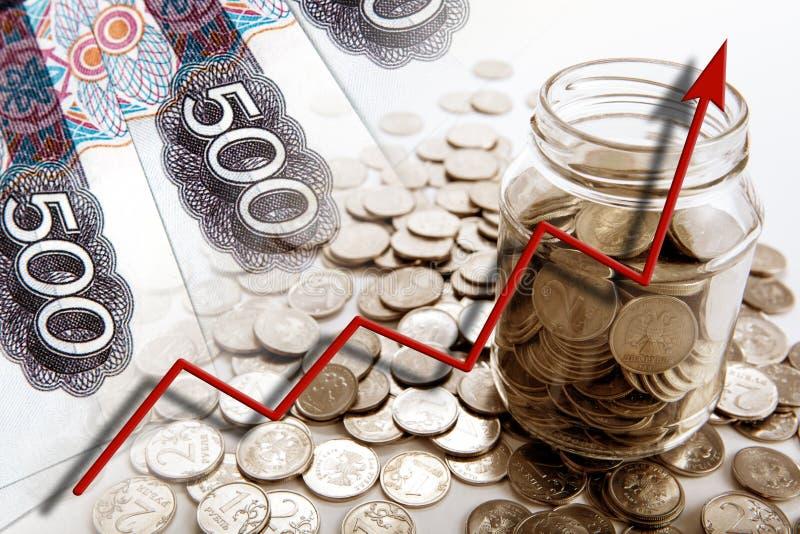 Натюрморт дела счетов и монеток денег с банком и g стоковые изображения