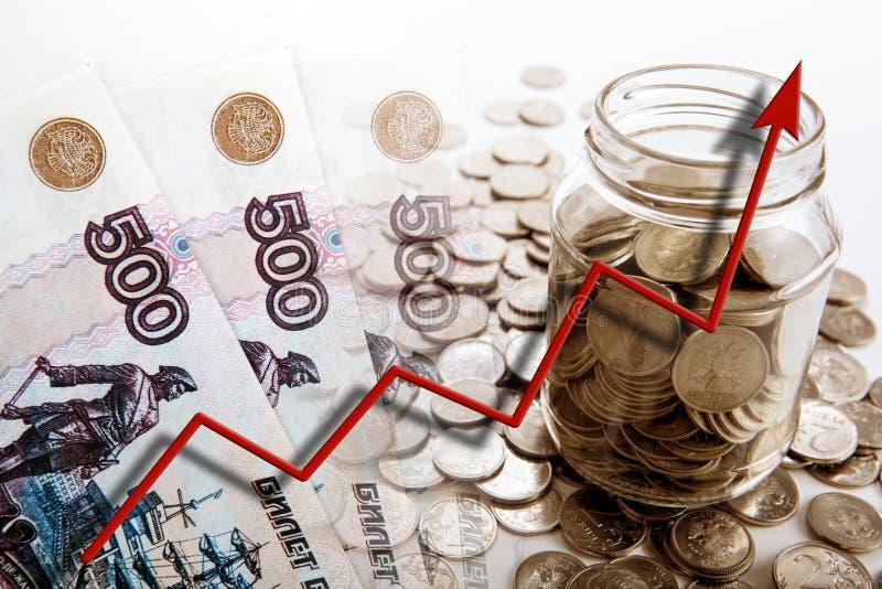 Натюрморт дела счетов и монеток денег с банком и g стоковое изображение rf