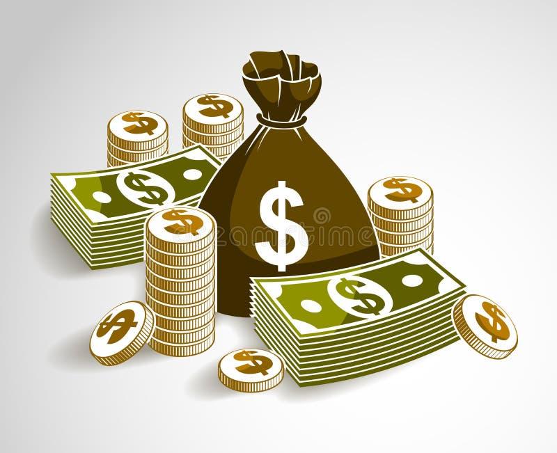 Натюрморт денег наличных денег с монетками сумки moneybag и стогом доллара банкноты иллюстрация вектора