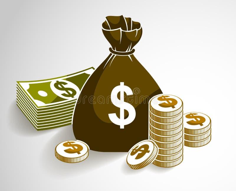 Натюрморт денег наличных денег с монетками сумки moneybag и стогом доллара банкноты иллюстрация штока