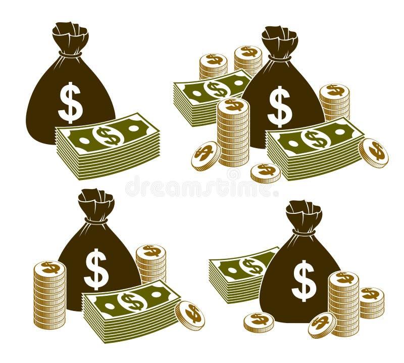 Натюрморт денег наличных денег с монетками сумки moneybag и стогом доллара банкноты бесплатная иллюстрация