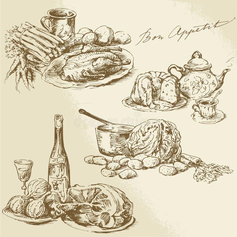 Натюрморт, еда, мясо, овощи иллюстрация вектора