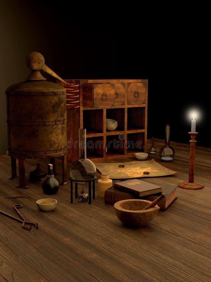 Натюрморт лаборатории алхимии иллюстрация вектора