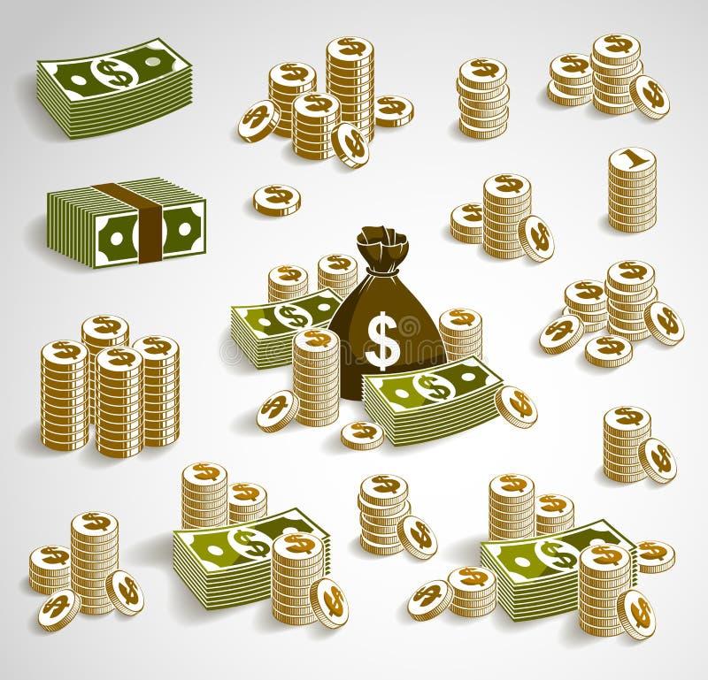 Натюрморт набора денег наличных денег с монетками сумки moneybag и стогом доллара банкноты бесплатная иллюстрация