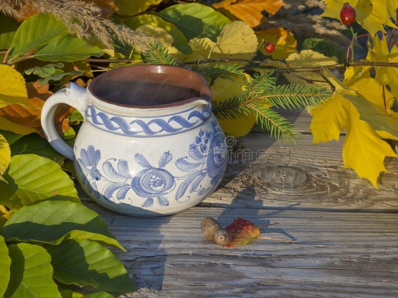 Натюрморт осени, горячий куря чай в деревенской белой сини покрасил керамическую чашку с красочной листьями, буком и кленом покра стоковое фото
