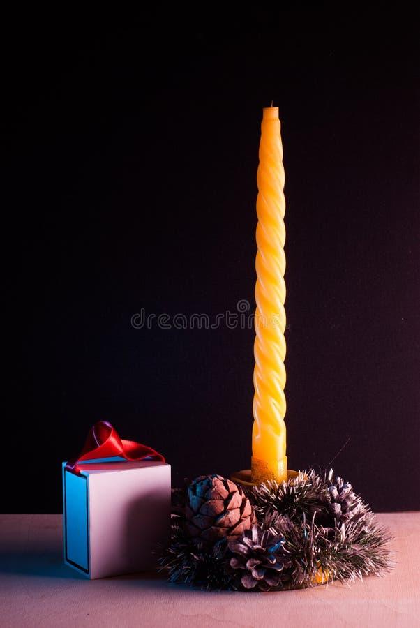 Натюрморт рождества на черной предпосылке, стоковое изображение