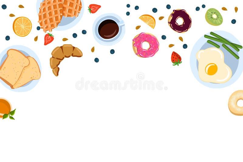 Натюрморт с завтраком в плоском взгляде сверху стиля doodle и с местом для иллюстрации вектора текста иллюстрация вектора