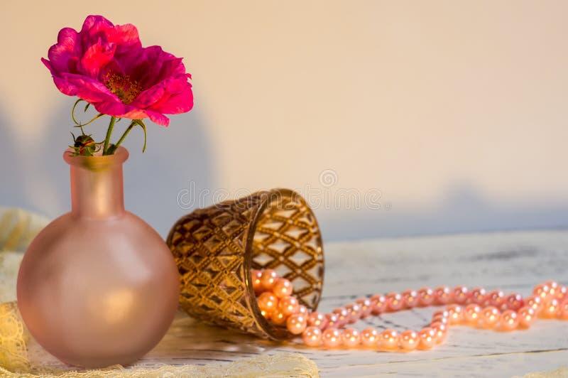 Натюрморт с одичалая розовой и жемчугами стоковые изображения