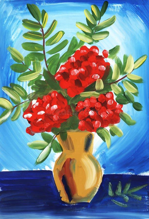 Натюрморт с рябиной на голубой предпосылке Рука покрасила на бумажной иллюстрации бесплатная иллюстрация