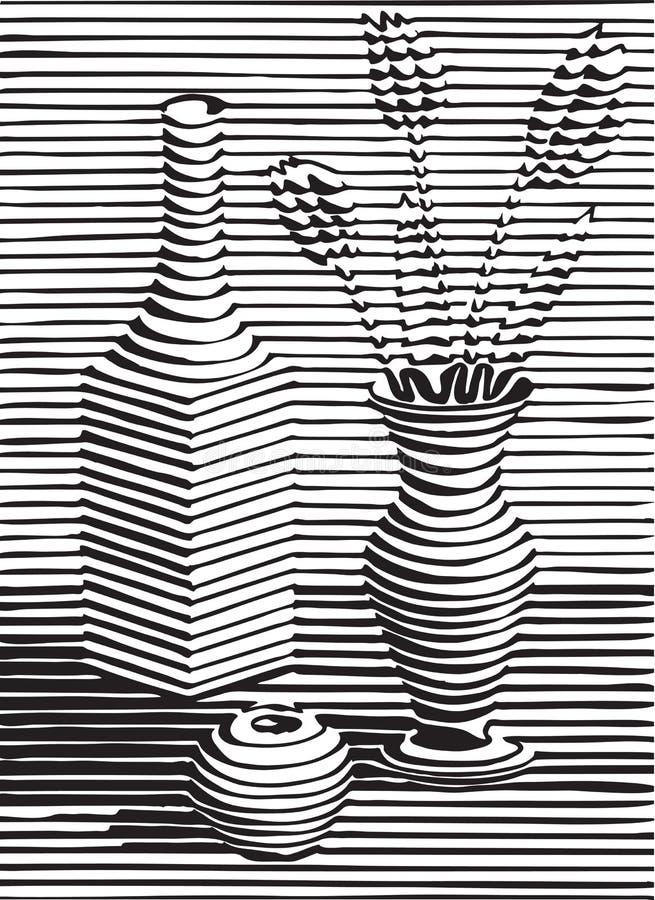 Натюрморт с crockery, цветком, черным силуэтом иллюстрация штока
