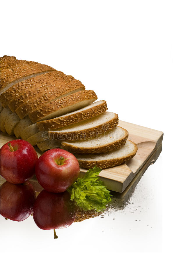 Натюрморт яблок хлеба стоковая фотография