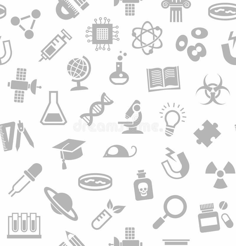 Наука, безшовная предпосылка, белизна, вектор бесплатная иллюстрация
