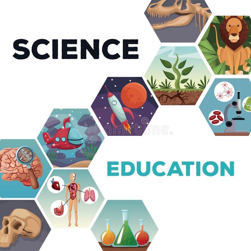 Наука и образование обложки с развитием мира значков иллюстрация вектора
