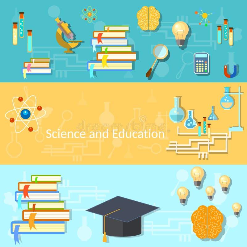 Наука и образование, тренировка, мозг, знамена вектора иллюстрация вектора