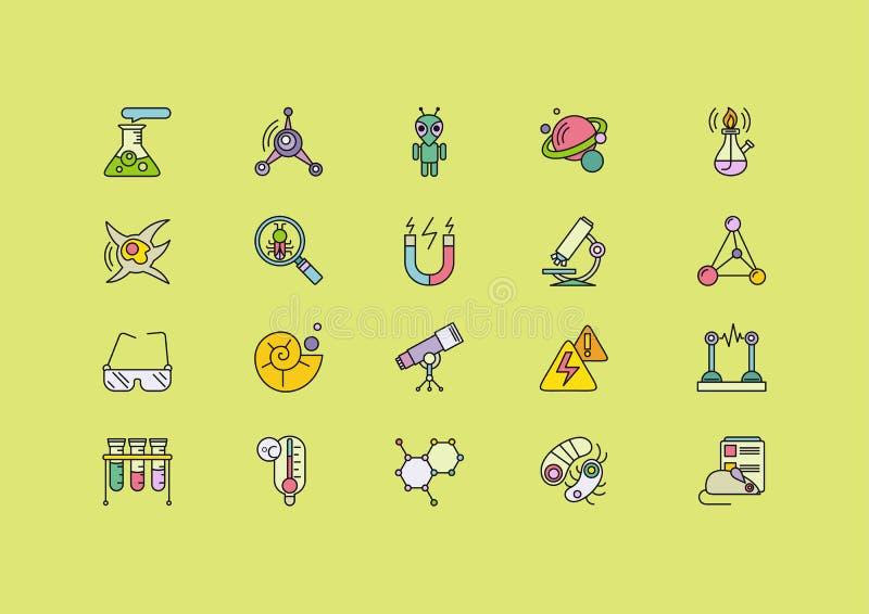 Науки символов установленные линий значков ходов бесплатная иллюстрация