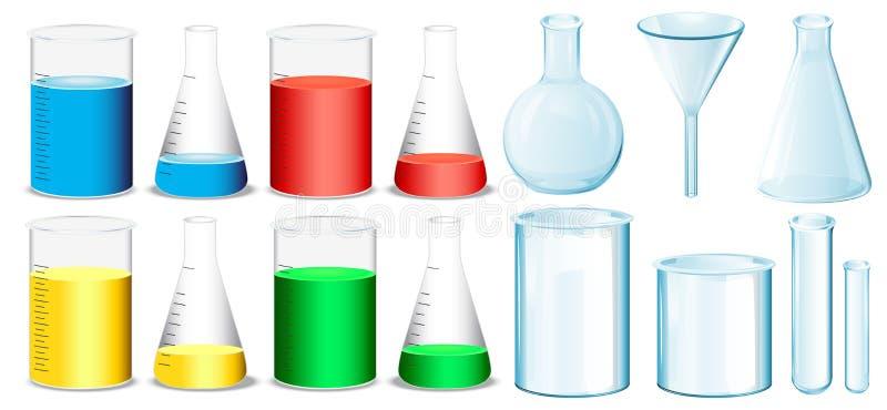 Научная аппаратура с beakers и трубками иллюстрация вектора