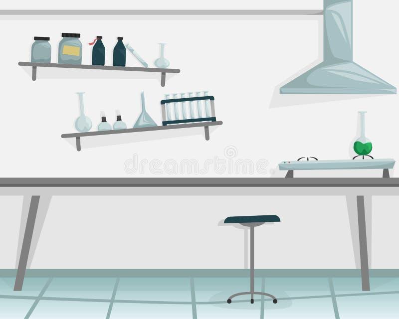 Научная лаборатория Медицинское оборудование Ученый проводя эксперимент Горелка, пробирка, склянка, химические реактивы иллюстрация вектора