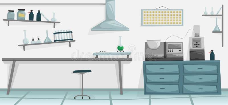 Научная лаборатория Медицинское оборудование Ученый проводя эксперимент Горелка, пробирка, склянка, химические реактивы бесплатная иллюстрация