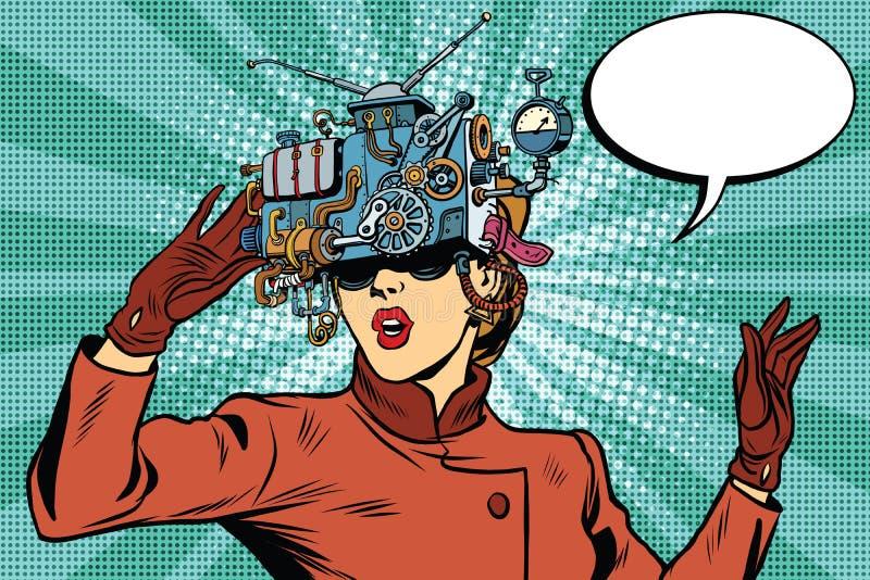 Научная фантастика девушки стекел виртуальной реальности ретро иллюстрация вектора