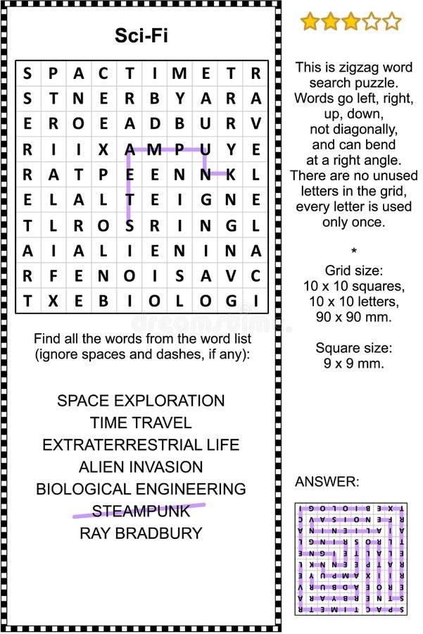 Научная фантастика, или научная фантастика, тематическая головоломка поиска слова бесплатная иллюстрация