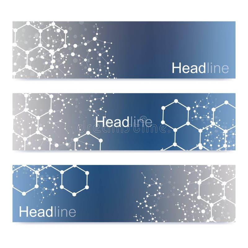 Научный комплект современных знамен вектора Структура молекулы дна с соединенными линиями и точками Предпосылка вектора науки иллюстрация штока