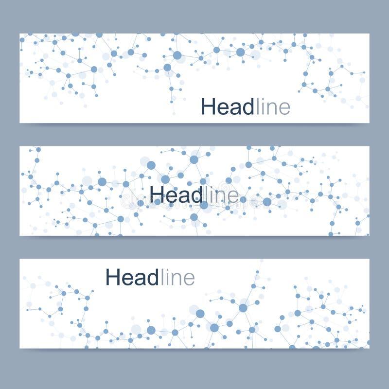 Научный комплект современных знамен вектора Структура молекулы дна с соединенными линиями и точками Предпосылка вектора науки иллюстрация вектора