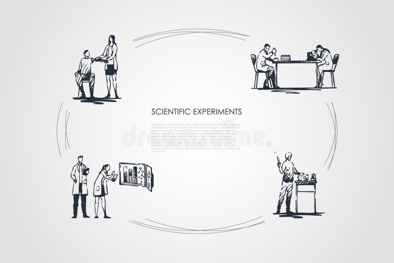 Научный эксперимент - медицинские работники делая эксперименты с кровью и тесты в наборе концепции вектора лаборатории иллюстрация вектора