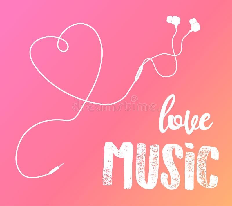 Наушники вектора с фоном фразы музыки любов бесплатная иллюстрация