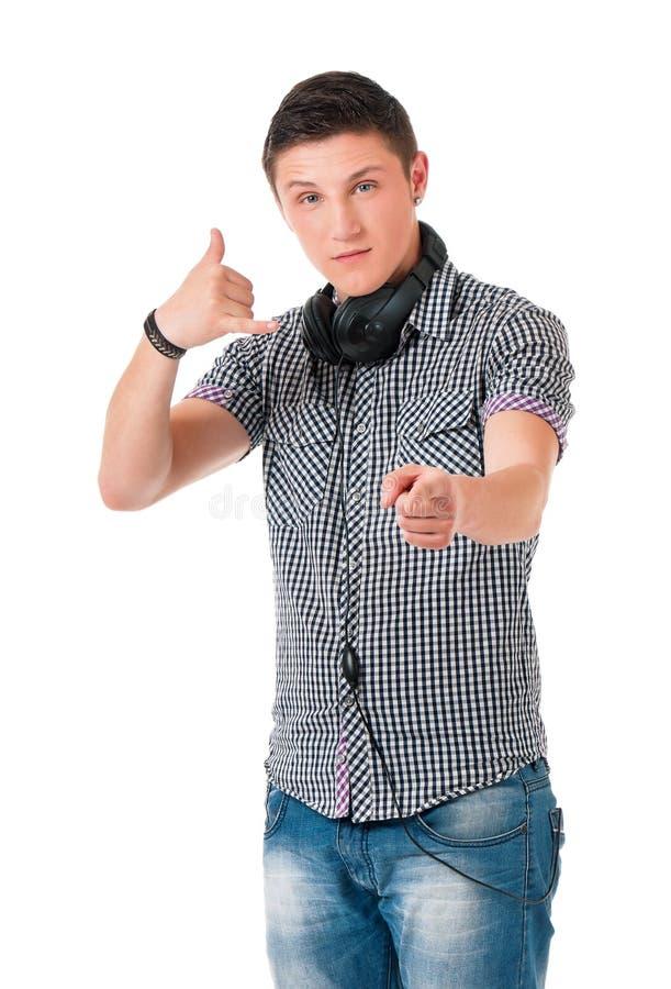 наушники мальчика предназначенные для подростков стоковая фотография